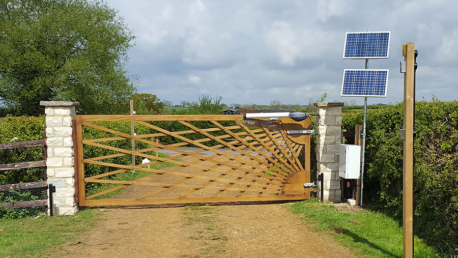 A solar-powered gate