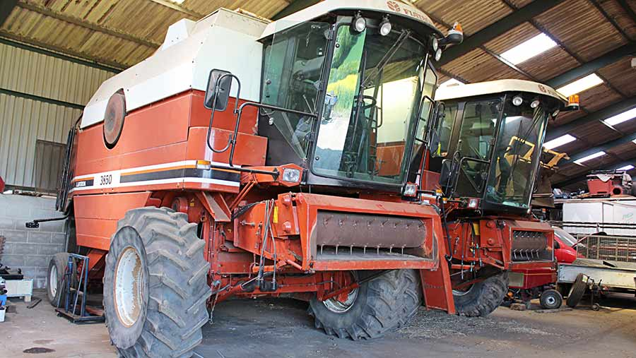Laverda combines stand in a shed