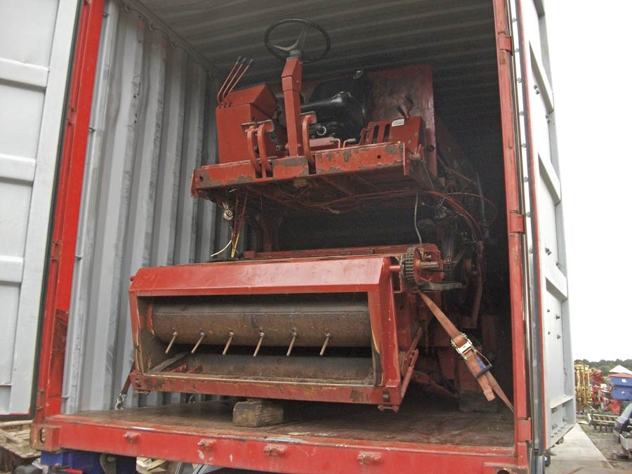 A Laverda combine in a shipping container