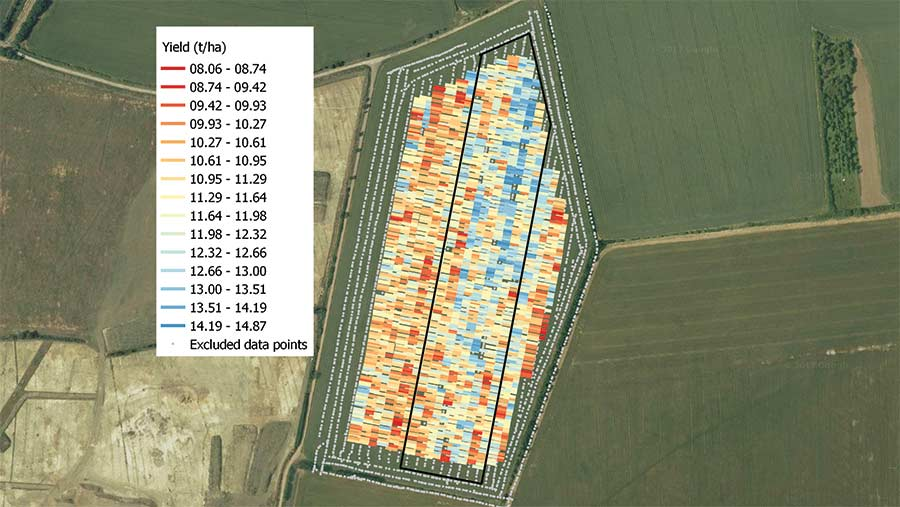 Combine yield map from Ian Lutey's 2017 tria