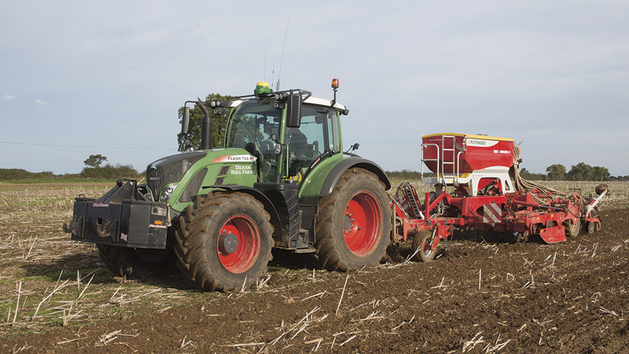 Fendt 724 pulling a drill in the field