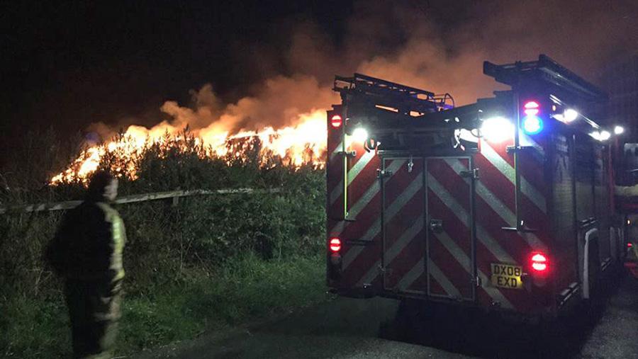 Shropshire firefighters tackle blaze on farm