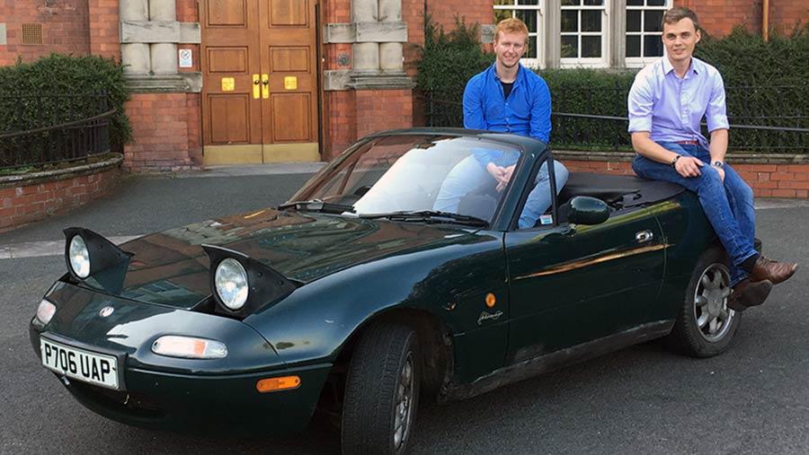 Jonathan Glen (left) and Alan Walker with their Mazda MX-5