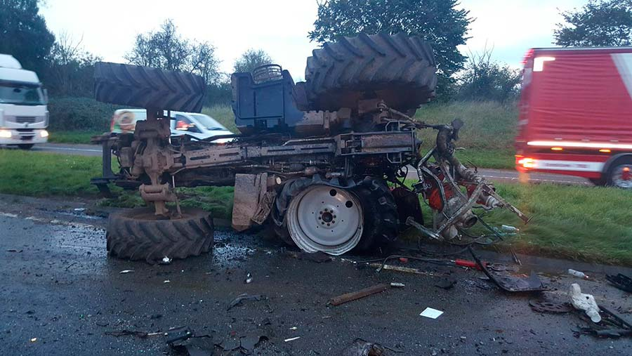 Tractor and truck crash
