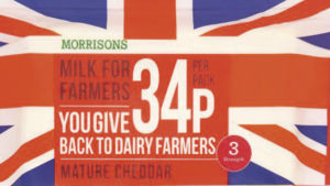 """A pack of Morrisons cheese. The packaging reads: """"Morrisons milk for farmers. You give 34p/pack back to dairy farmers."""""""