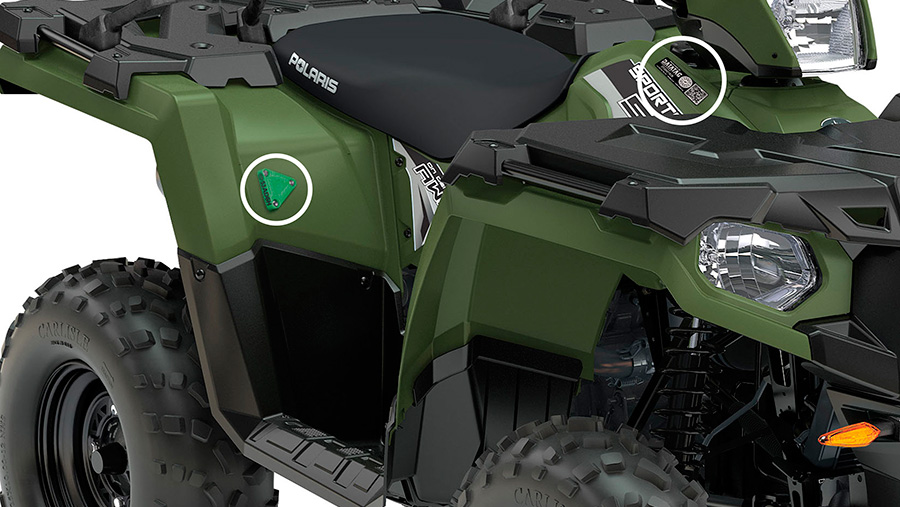 A Polaris machine with a Datatag sticker in it