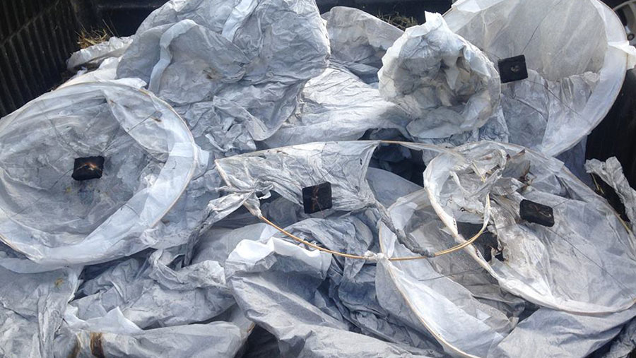 A pile of burned out sky lanterns