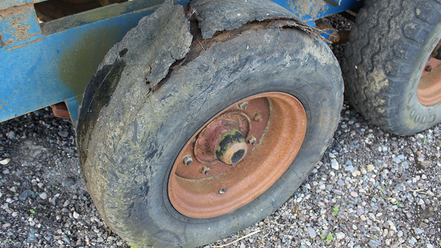 A badly worn tyre