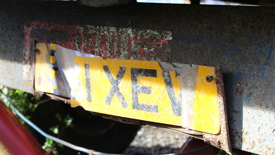 A damaged number plate