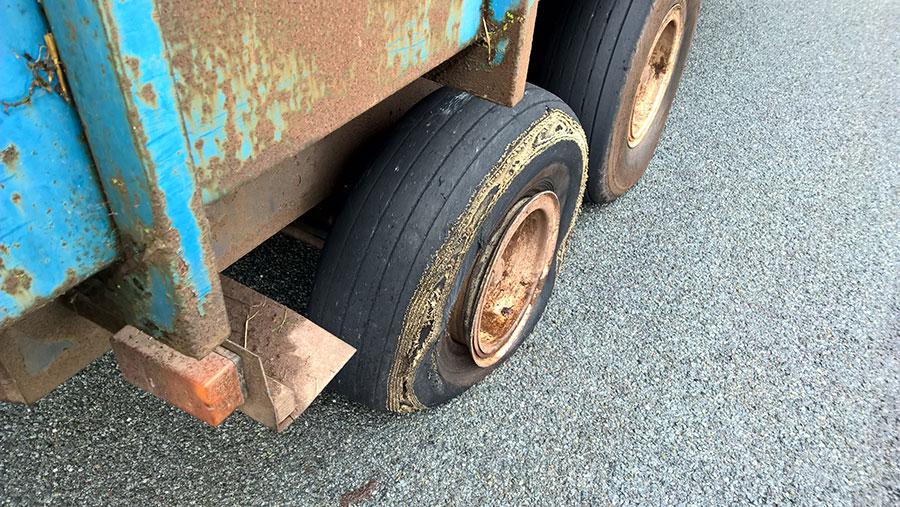 A worn trailer tyre