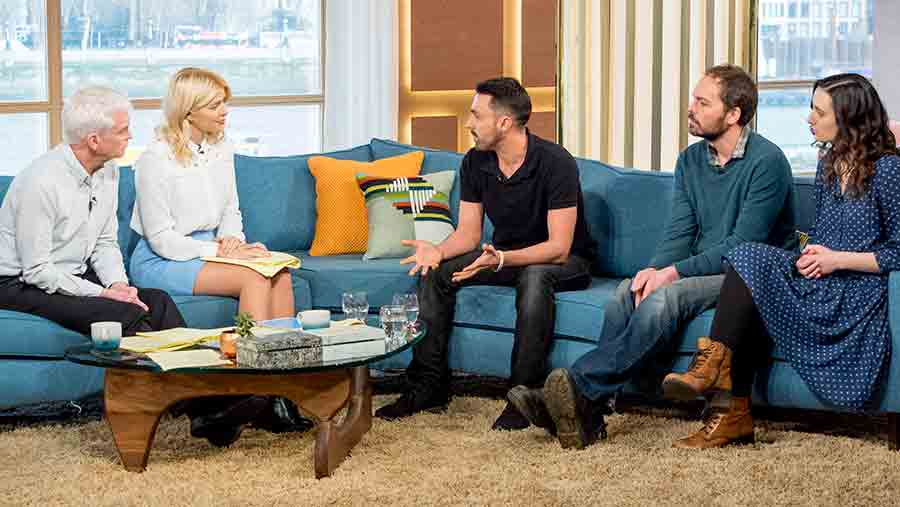 A shot from This Morning showing Phillip Schofield and Holly Willoughby along with guests Joey Carbstrong and farmers Jonny and Dulice Crickmore