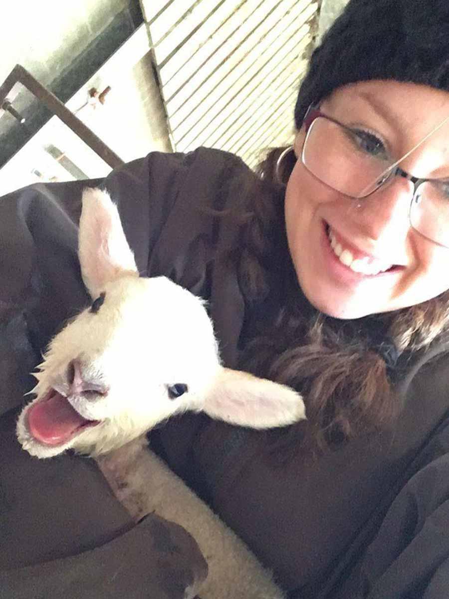 Georgia Manning with lamb