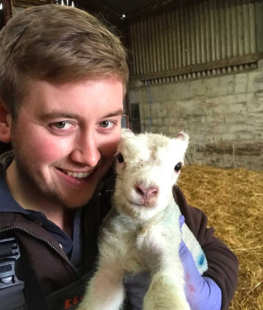 Guy Dibble with lamb