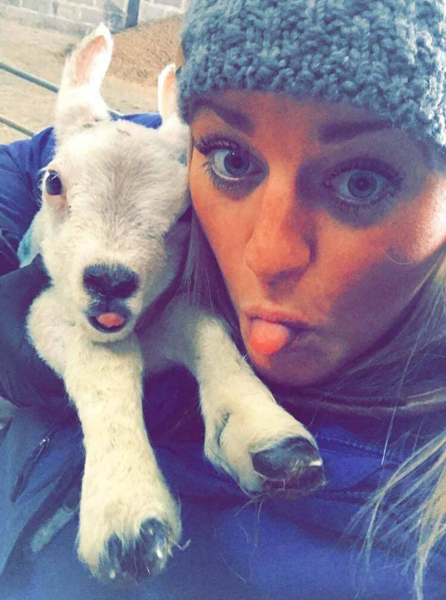Sarah with lamb