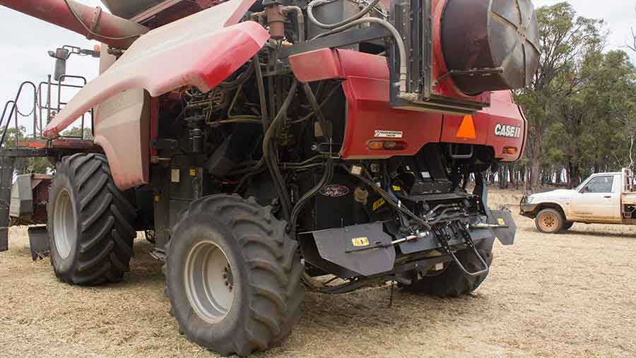 The seed destructor fitted to the back of a combine