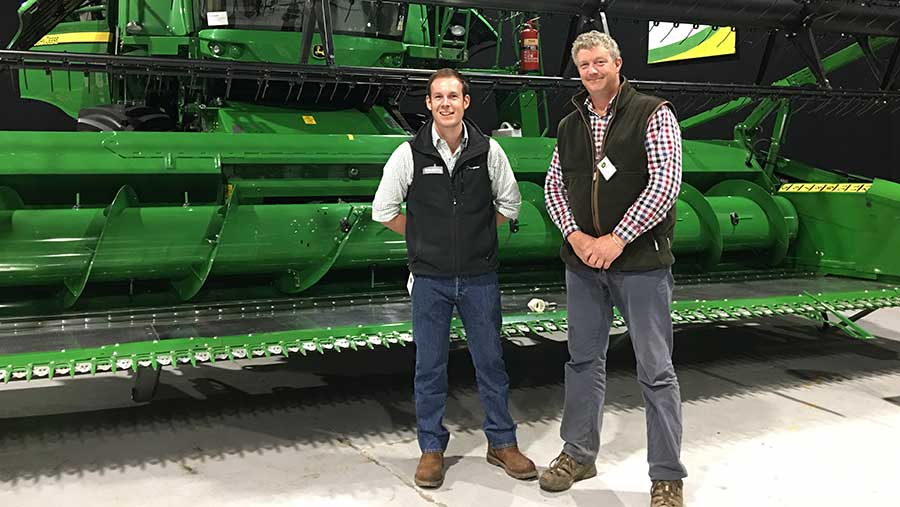 Contract farmer Eric Wright with BASF's David Sedgely