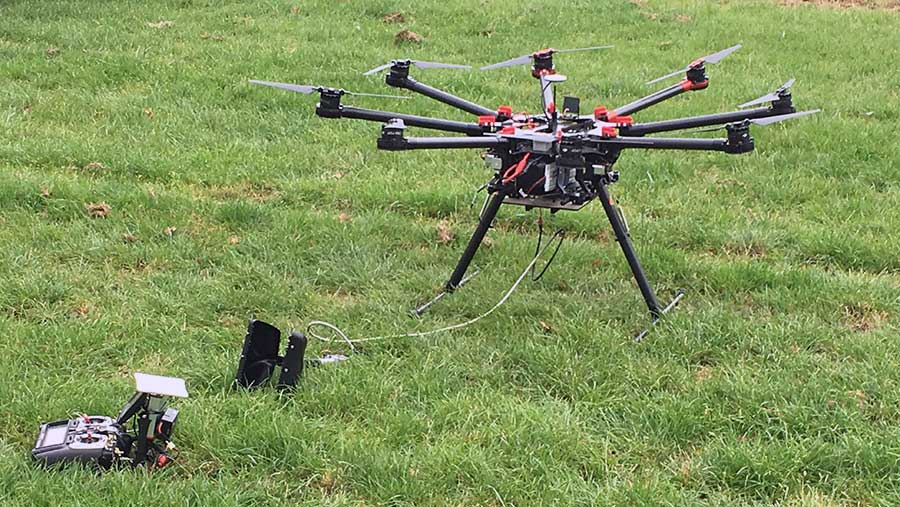 The drone used to monitor the Hands Free Hectare crop, with grab attachment fitted for grain sampling