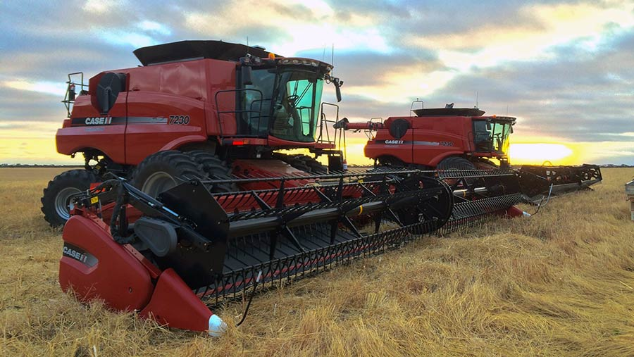 Two Case combines at harvest in Australia