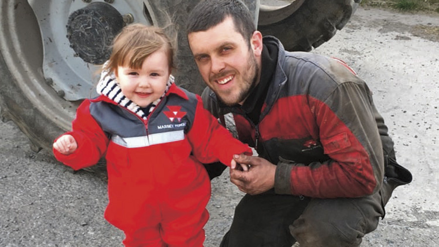 Two-year-old Mali Ann helping dad out at Pontllyfni in North Wales.