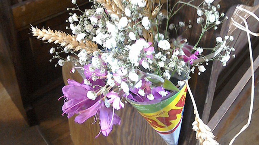 Farmers Weekly used as floral decoration