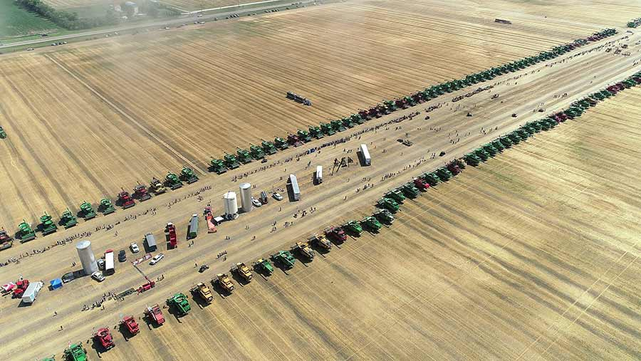 Tractors line up for combine record attempt