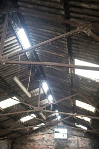 The roof of a cow shed, showing gaps in the roof to allow air to flow and strip lighting