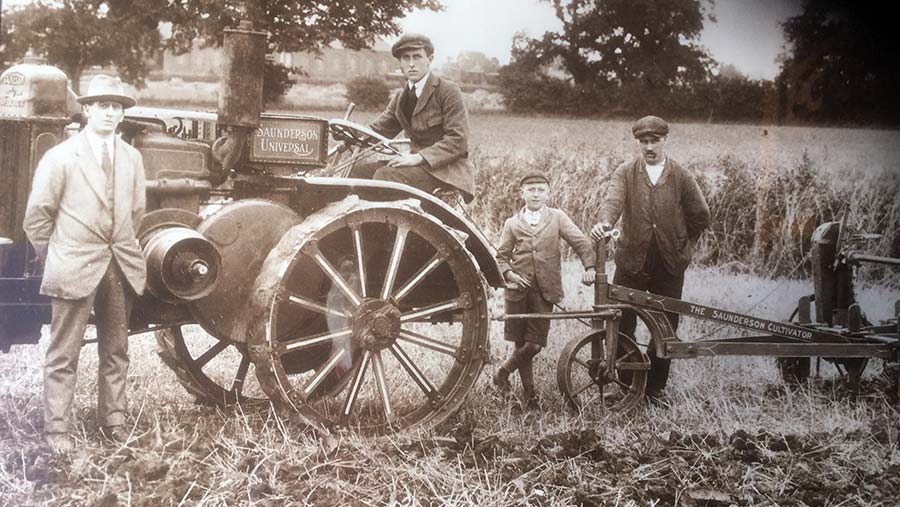Maurice Belton in 1919 with his new farm equipment