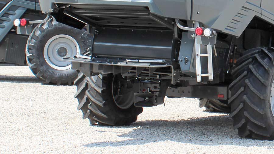 The rear of a Massey Ferguson combine