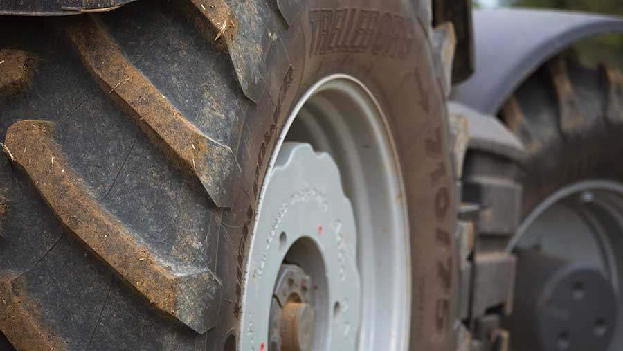 Close-up of tractor tyre