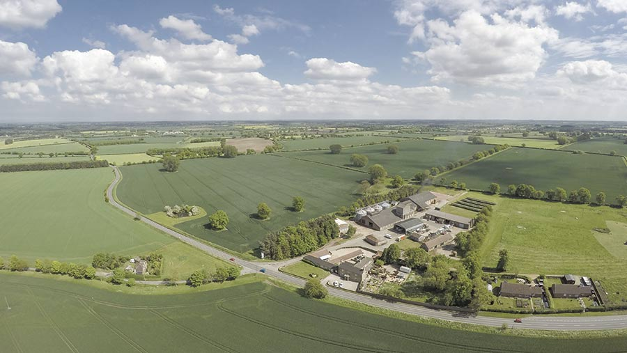 Weasenham Farm viewed from a high vantage point