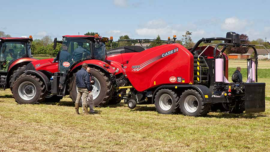Case-IH RB545 Silage Pack and Maxxum tractor