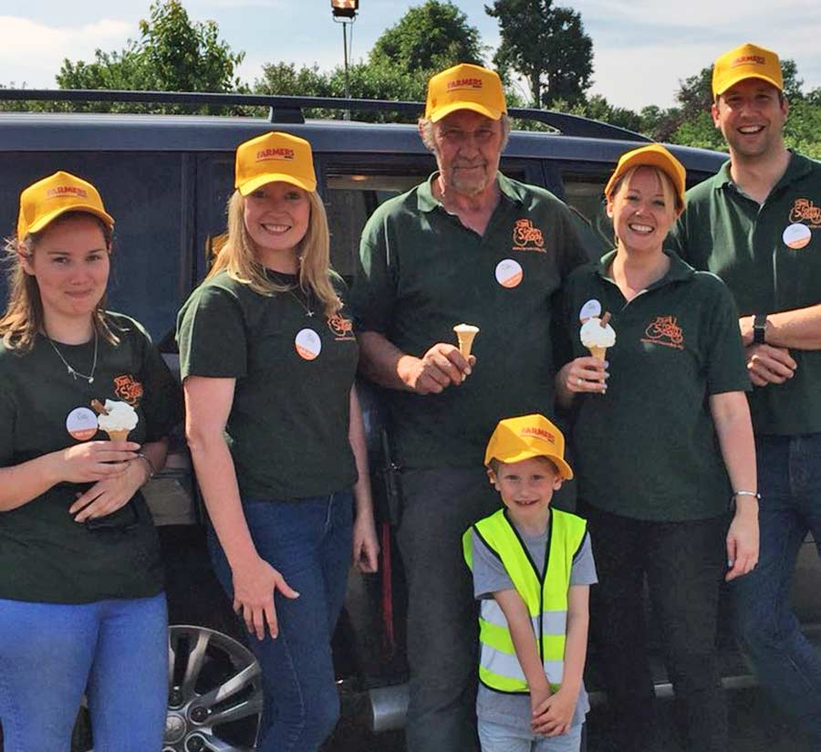 Ice creams all round. The team at Luton Hoo Estate on the Bedfordshire/Hertfordshire border, complete with fetching Farmers Weekly hats.