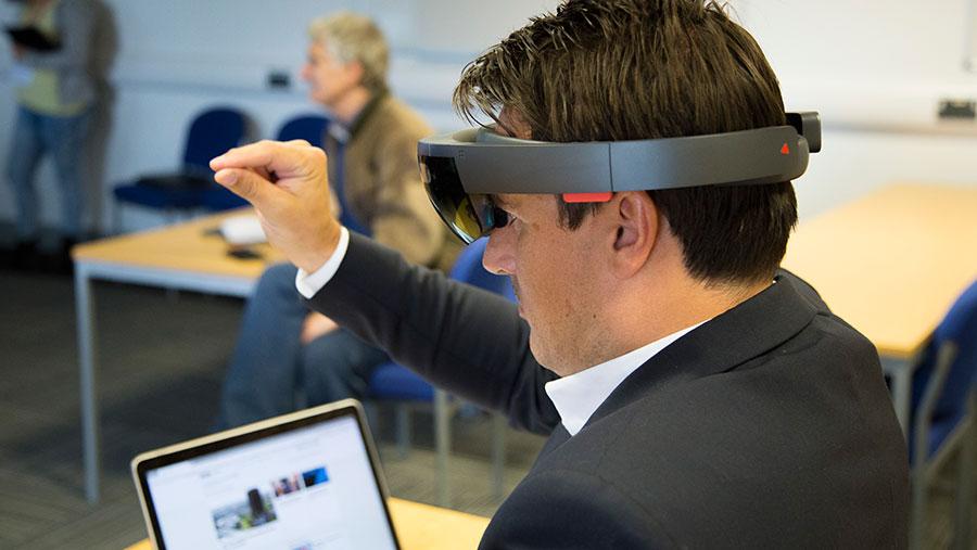 Man using Harper Adams' new mixed reality headset