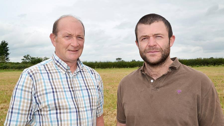 Agronomist Peter Lowth (left) advised Wilshire grower Ian Warman