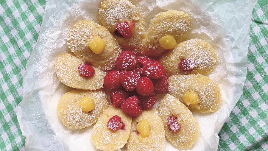 Lemon curd and berry madeleines