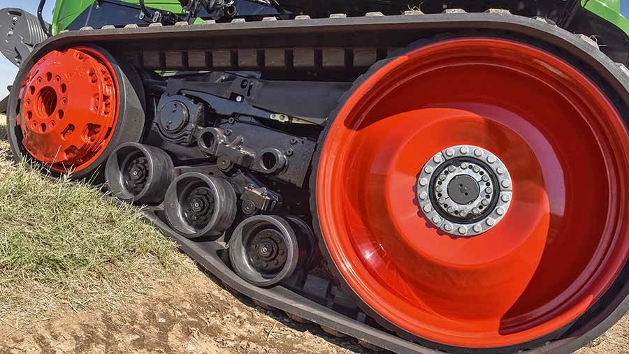A close-up photo of a Fendt's tracks