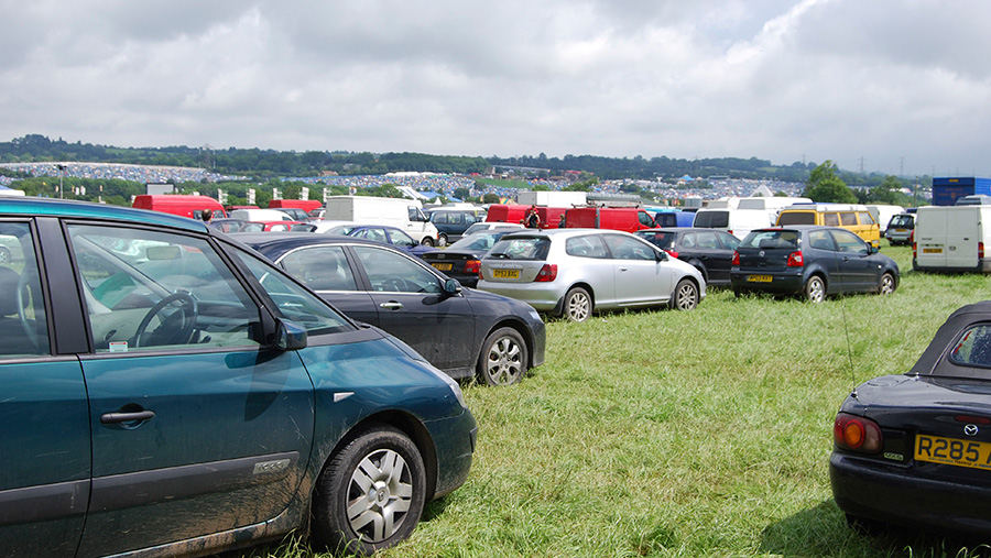 Car park in a field