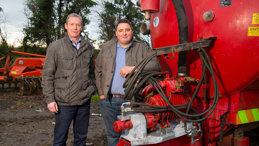 Hickey brothers Ger and Noel with a tanker that has been converted to hydraulic Safeshaft-drive system