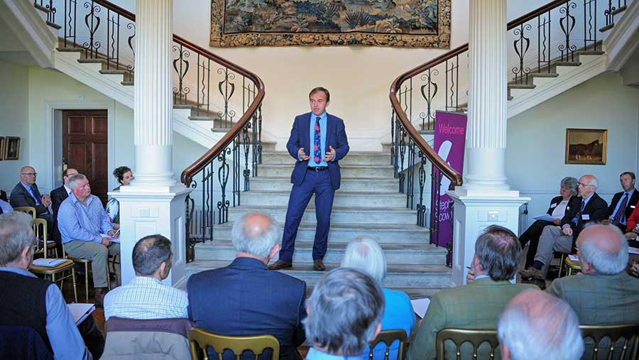 George Eustice speaks to an audience