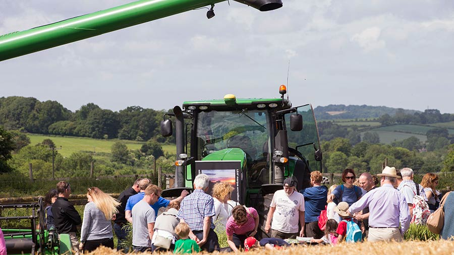 Open Farm Sunday crowds with tractor © LEAF Open Farm Sunday