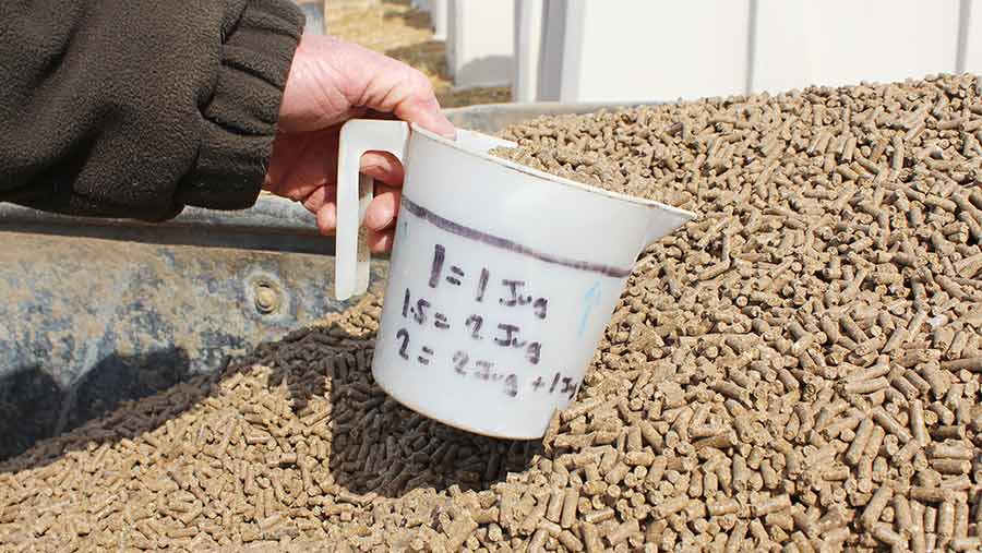 A measuring jug is used to scoop up high-protein concentrate