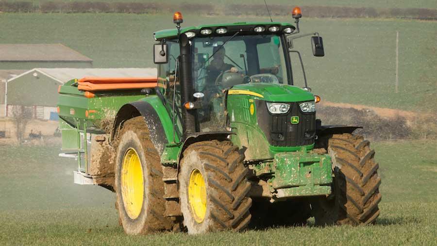 Fertiliser being applied to field
