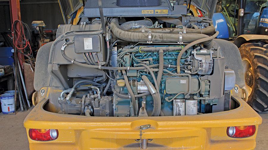 The Volvo loader's engine