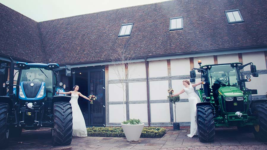 Couple on wedding day with tractors