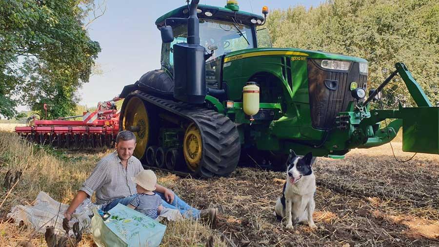 Family picnic on farm
