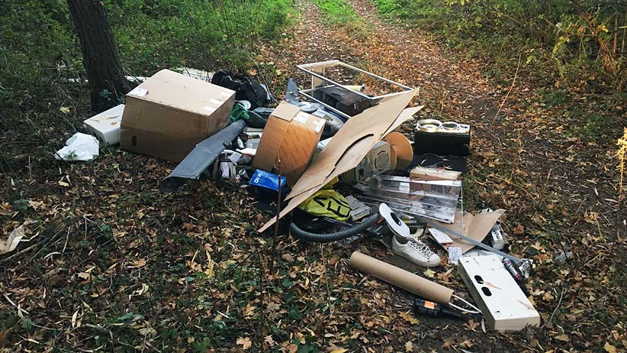 Fly-tipping on Will Sargent's farm in Norfolk