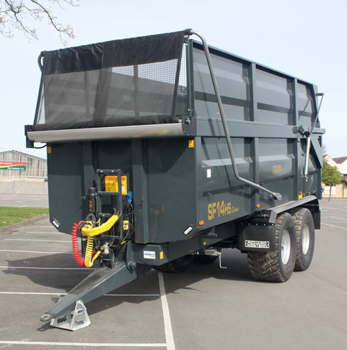 A Richard Western SF14HS Edition silage trailer with mesh cover.