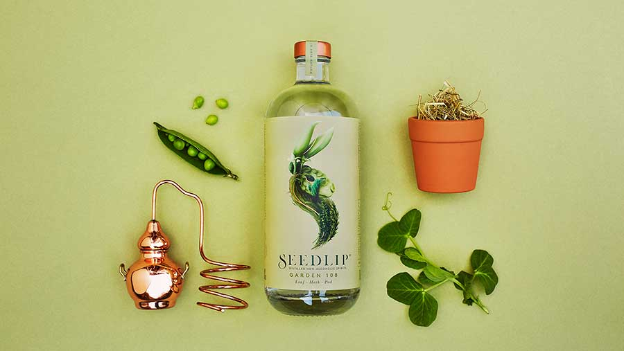 A bottle of Seedlip Garden 108