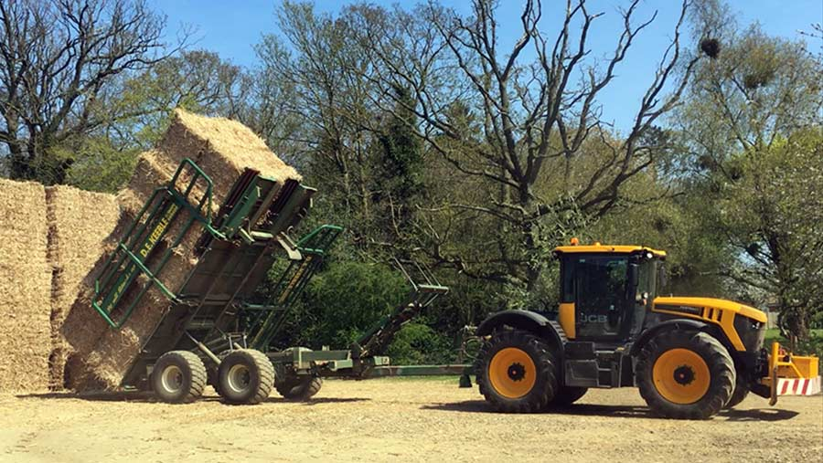 Bailing miscanthus on Will Sargent's farm