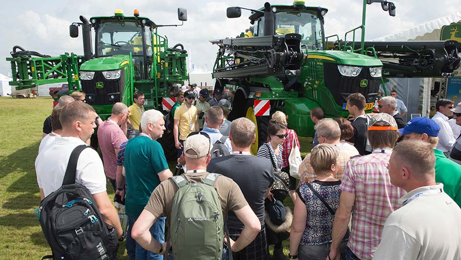 Crowds looking at tractors at Cereals © Tim Scrivener
